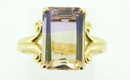 14k Yellow Gold Emerald Cut Genuine Natural Ametrine Ring Size 8 (#J4242) - $395.00