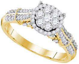 10k Yellow Gold Round Diamond Cluster Bridal Wedding Engagement Ring 5/8... - $872.00