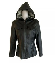 Newport News Black Leather Hooded Zip Front Jacket Small Pockets Quilted... - $39.59