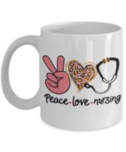 Nurse Coffee Mug Thank You Gift Peace Love Nursing - $14.84+