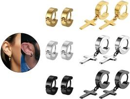 Cross Hoop Earrings,Flongo Mens Women's Stainless Steel Cross Dangle Huggie For - $42.91
