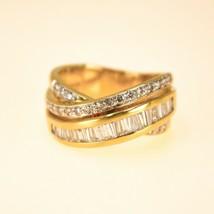 18k Gold diamond Band Ring UK Size N BHS - $1,298.54