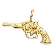 14k Yellow Gold Right to Bear Revolver Handgun Pistol Rifle Gun Design P... - $84.14