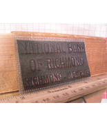 Flexographic Printing Plate Rubber Stamp - National Bank of Richmond - $8.55