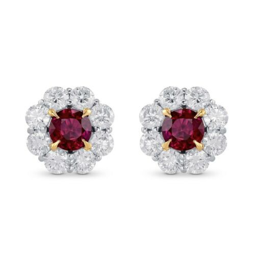 Primary image for 2.72Cts Ruby Gemstone Side Diamonds Halo  Earrings Set in 18K White Yellow Gold