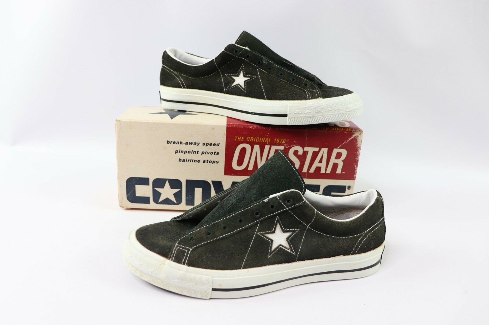 Vintage 90s New Converse One Star Mens Size 7 Suede Low Sneakers Hunter Green