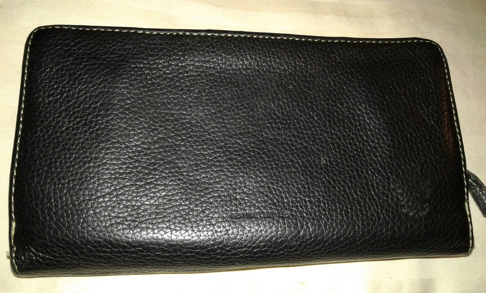 Black leather clutch checkbook wallet pre-owned green interior