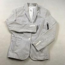 Isaac Mizrahi Womens Blazer Sz  M White Gray Striped Long Slv Collared Jacket - $20.07