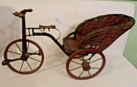 VINTAGE WOOD  METAL RICKSHAW 3 Wheel Bicycle PEDICAB DOLL PLANT DISPLAY ... - $79.20