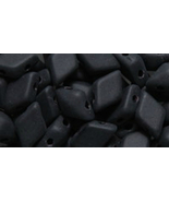 Matte Op Jet Black Czech Glass Twin Hole Beads, Diamond Duo 5 mm x 8 mm ... - $6.50