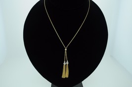 "Designer 14K Yellow & White Gold Rope Tassel Necklace (17"") - $385.00"