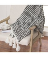 Throw Blanket Knit Tassel Lounge Couch Sofa Bed Bedroom Black Accent Dec... - $44.54