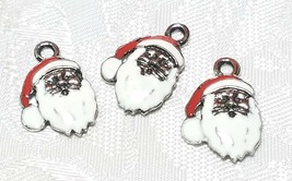 SANTA CLAUS FINE PEWTER PENDANT CHARM RED AND WHITE EPOXY ON SILVER