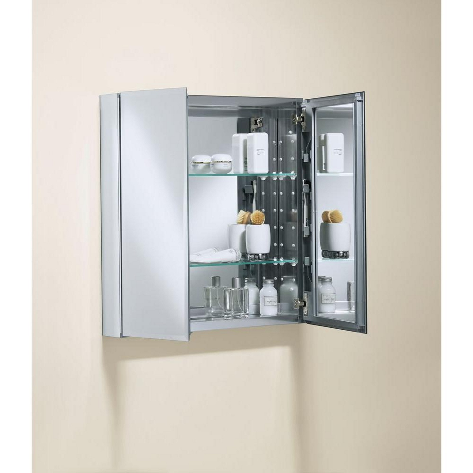 Medicine Storage Cabinet with Square Mirrored Double Door 25 in x 26 in x 5 in