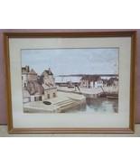 Custom Made Harbor Scene Picture Framed 11 1/2 x 7 1/2  Vintage Paper - $34.27