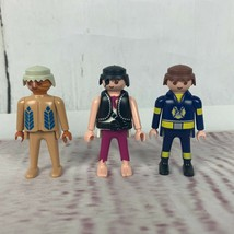 Lot of 3 Vintage Geobra Playmobil Figures Native American Pirate Firefighter  - $4.00