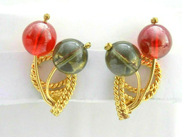 Vintage Gold Tone Red Grey Translucent Lucite Beaded Sphere Orb Clip Ear... - $12.86
