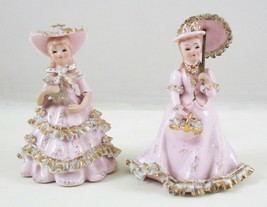 Vintage Geo. Z Lefton Figurines Little Girl W/ Umbrella Pink Gold Dresse... - $24.75