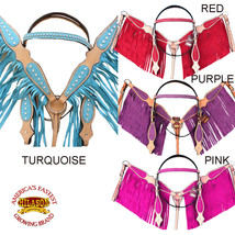 Western Horse Headstall Breast Collar Bridle American Leather Fringes U-... - $99.95