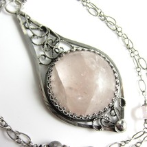 Her Majesty Marguerite Necklace - Natural Pink Morganite, Rose Quartz in... - $215.00