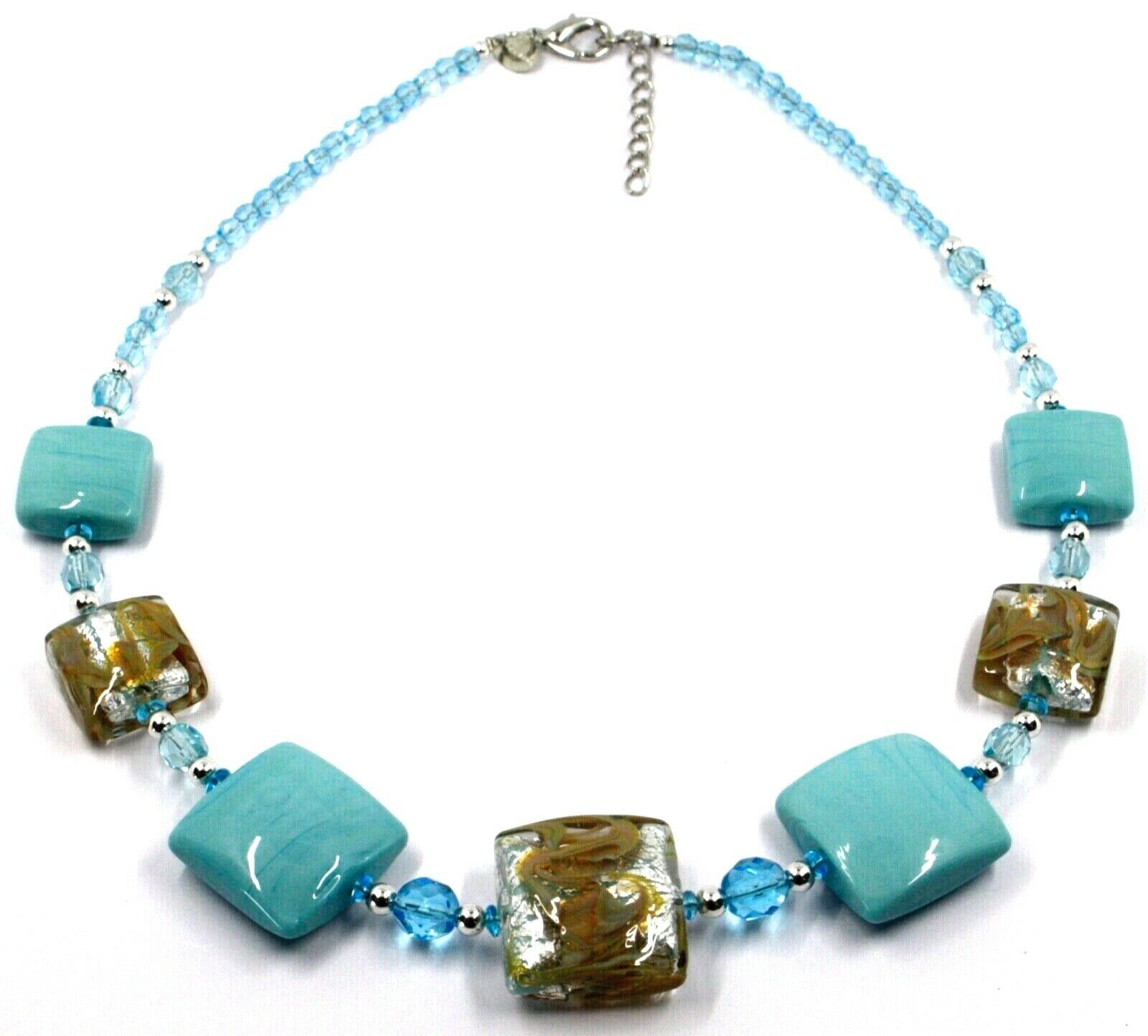 """NECKLACE WITH AZURE MURANO SQUARE GLASS & SILVER LEAF, MADE IN ITALY, 50cm, 20"""""""