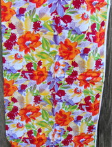 Colorful Flowers Vintage Cotton Fabric - $15.00