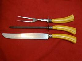 "Vintage 3 Piece Bakelite 13"" Carving Set with Knive, Fork, and Sharpenin... - $49.00"