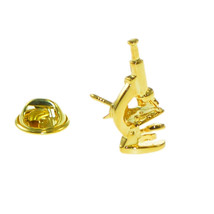 Gold Plated Microscope Lapel Pin Badge / tie pin. in gift box