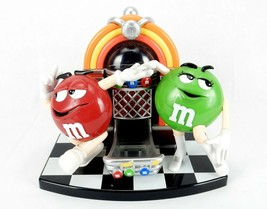 M&M Candy Dispenser, Mechanical Jukebox, Red & Green Dancing Characters, Vintage - $24.45