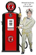 Premium Mohawk Gas Pump Reproduction Laser Cut Out Of Metal 19x30 - $63.36