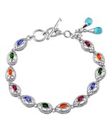 Russian Chrome Diopside Apatite Fire Opal Garnet Tanzanite Bracelet - $113.73