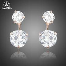 Rose Gold Color with 2pcs Clear Cubic Zirconia Drop Earrings For Women - $13.95