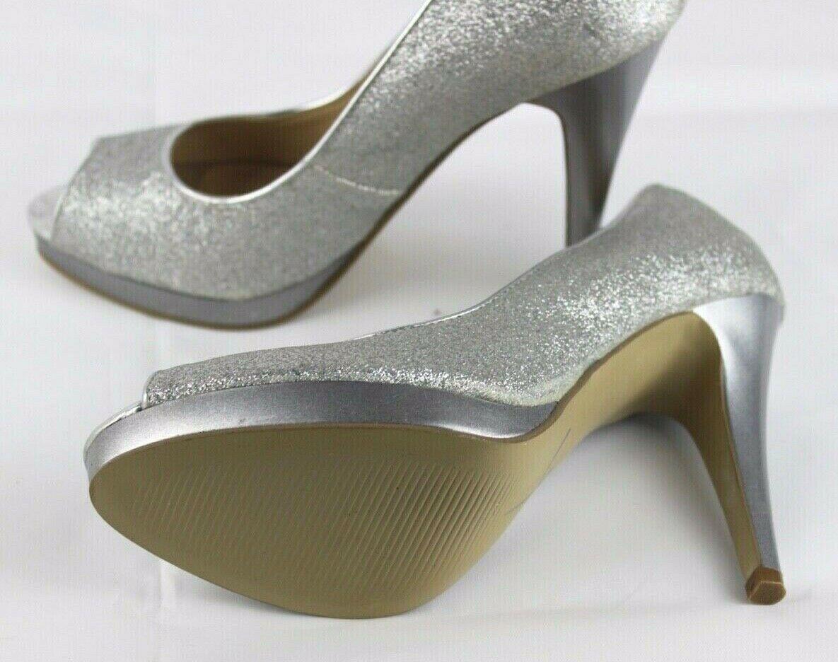 Nine West women's shoes heel silver metallic open toe size 5.5 M