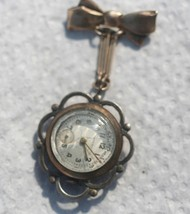 Antique Imperial Beveled Crystal BROOCH WATCH 10K Rolled Gold Plated Swiss  - $74.25