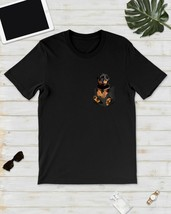 Rottweller in Pocket T-Shirt Lovely Dogs Shirt Black Cotton Made in USA - $12.99
