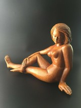 Antique Deco Wood Carving Female Nude Seated Woman Art Sculpture Statue #2 - $175.00