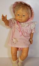 1986 Uneeda Plastic Baby Girl Newborn Doll Blue Eyes Pink Dress   - $14.24