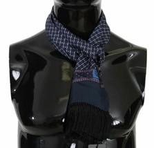 Dolce & Gabbana Gentlemens Blue Patterned 100% Silk Scarf Fringes & Crow... - $127.71