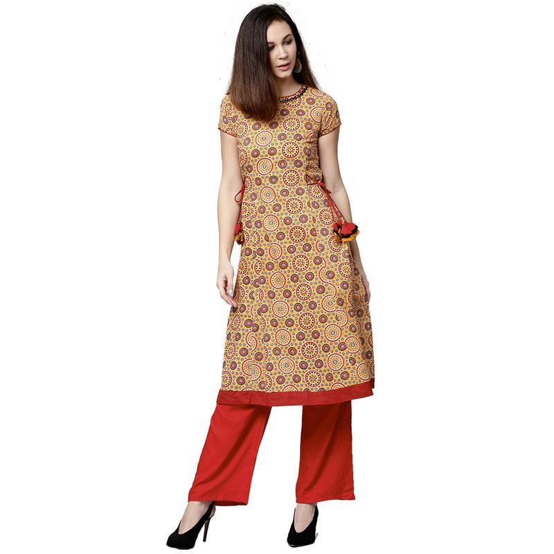 b3415801b37 Jkplz3072 main. Jkplz3072 main. Previous. Jaipur Kurti Women Ethnic Cotton  Embroidered Kurta Short Sleeves Casual Yellow
