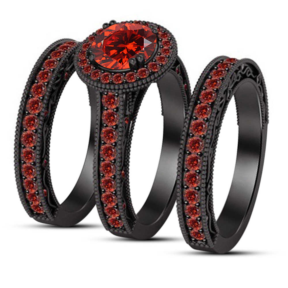 Primary image for Designer Jewelry Round Red Garnet Engagement Ring Set & Free Shipping Free Gift