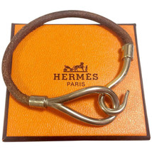Vintage Hermes Jumbo leather and silver bracelet. Classic and casual jew... - $182.00