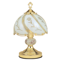 OK Lighting OK-606WG 14.25-Inch Touch Lamp with White Glass Floral Theme... - $39.70