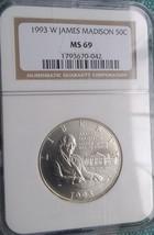 1993-W James Madison commemorative half dollar MS69 - $32.71