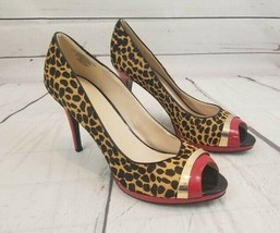 NINE WEST Leopard Red Calf Hair Open Toe Heel Women's Size 10 1/2 M - $16.14