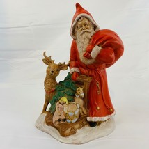 Vintage Ceramic Old World Santa with Toys Sleigh Reindeer Christmas Tree... - $32.27