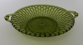 Indiana Glass USA Honeycomb Pattern Olive Round Handled Mint Dish Patter... - $14.44