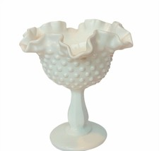 Fenton Milk Glass vase wave crest hobnail vtg white decor gift figurine ... - $72.57