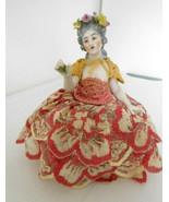 Antique German Dressel Kister China Half Doll Pin Cushion w/Garland of F... - $295.00