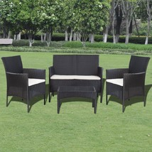 vidaXL Garden Lounge Set 7 Pieces Wicker Poly Rattan Black Outdoor Sofa ... - $204.99
