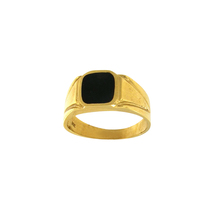 Men's Yellow Gold Ring with Black Onyx and Diamond - $750.00